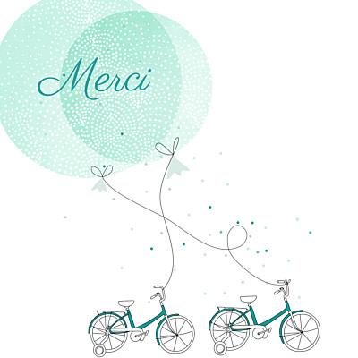 Carte de remerciement Merci à bicyclette jumeaux vert finition