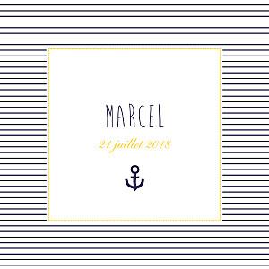 Faire-part de naissance Petit matelot (triptyque) bleu & jaune