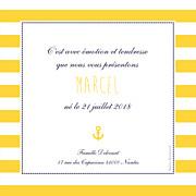 Faire-part de naissance Petit matelot (triptyque) bleu & jaune page 2