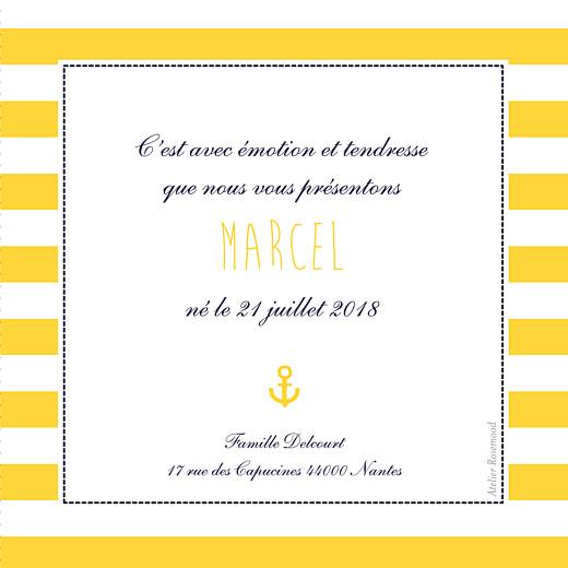 Faire-part de naissance Petit matelot (triptyque) bleu & jaune - Page 2