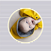 Faire-part de naissance Petit matelot (triptyque) bleu & jaune page 3