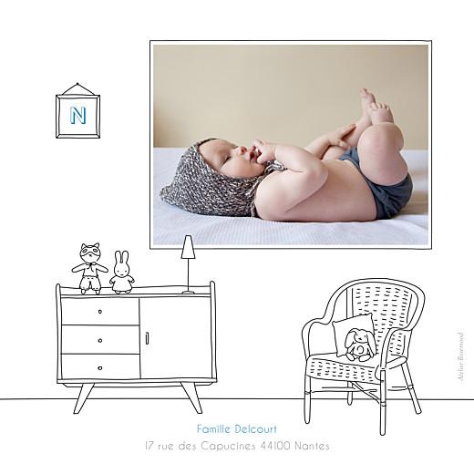 Faire-part de naissance My little room photo blanc