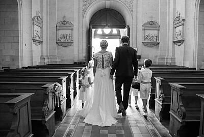 Carte de remerciement mariage Grâce blanc bleu finition