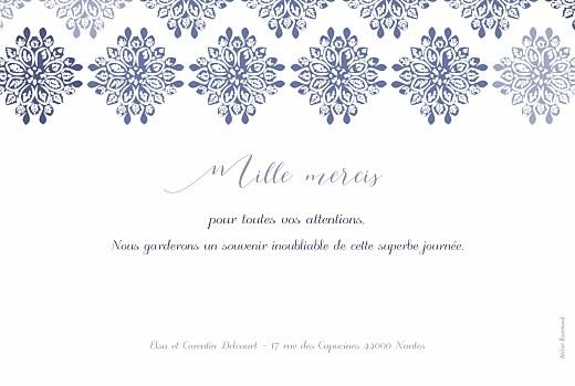 Carte de remerciement mariage Grâce blanc bleu - Page 2