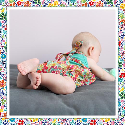 Faire-part de naissance Mille fleurs photo (4 pages) jaune & rouge