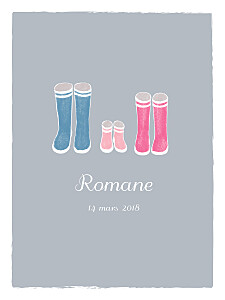 Affiche famille balade gris & rose