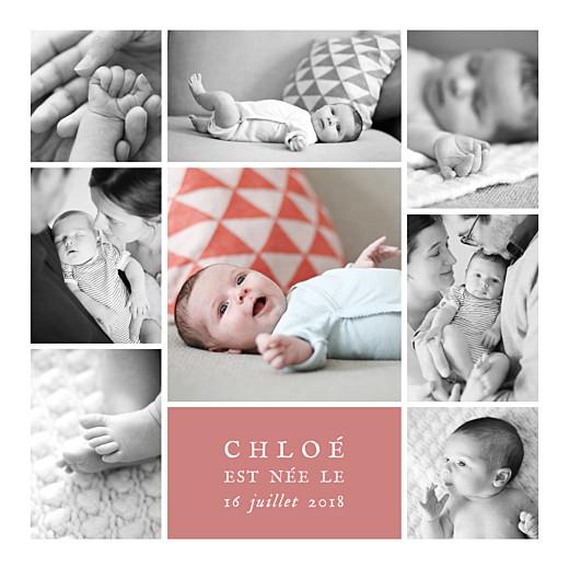 Faire-part de naissance Souvenir 8 photos corail