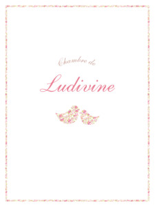 Affiche Liseré liberty cocottes rose