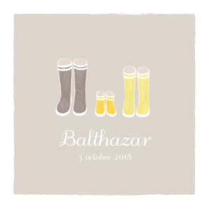 Faire-part de naissance Balade (triptyque) beige jaune