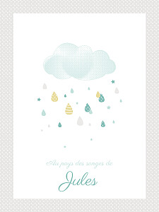 Affichette gris tombe la pluie taupe