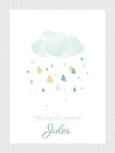 Affichette Tombe la pluie taupe