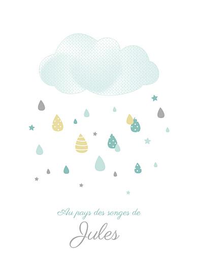 Affichette Tombe la pluie blanc vert