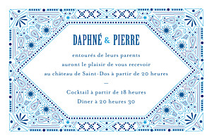 Carton d'invitation mariage Nomade bleu
