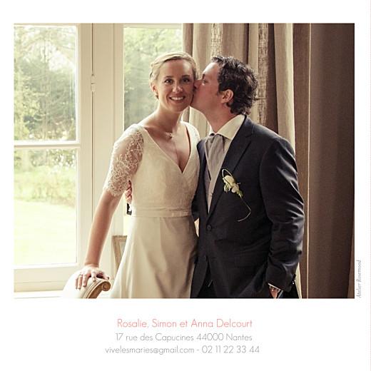 Carte de remerciement mariage Moderne 3 photos blanc