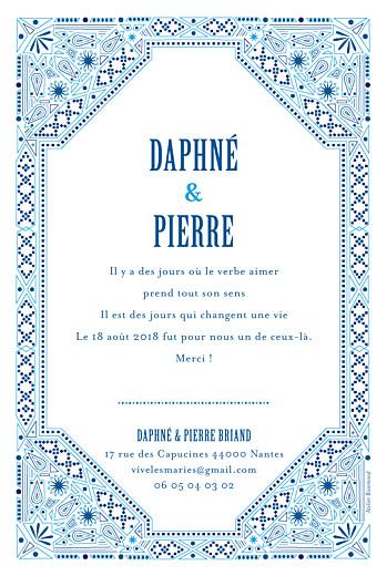 Carte de remerciement mariage Nomade bleu - Page 2