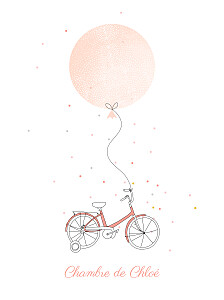 Affiche orange à bicyclette corail