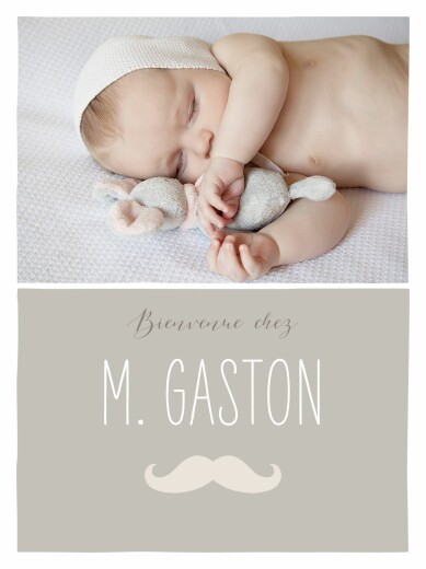 Affichette Moustache photo taupe