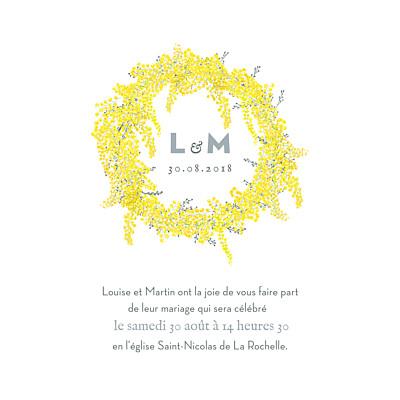 Faire-part de mariage Mimosa jaune finition