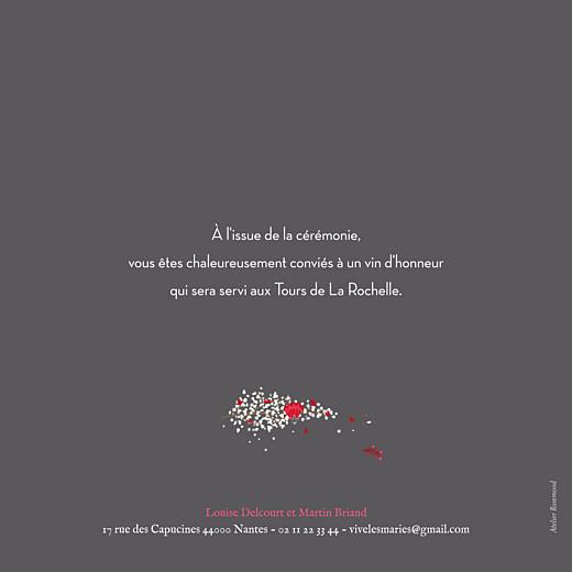 Faire-part de mariage Couronne de fleurs gris & rose - Page 2