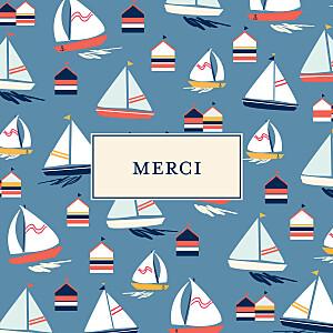 Carte de remerciement marin merci bateau sur l'eau bleu