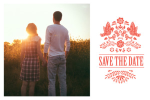 Save the Date Papel picado corail
