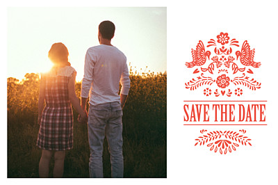 Save the Date Papel picado corail finition