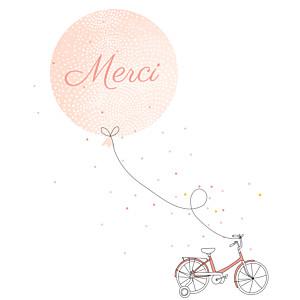 Carte de remerciement Merci à bicyclette corail