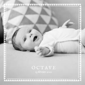 Faire-part de naissance Mon chéri 3 photos blanc