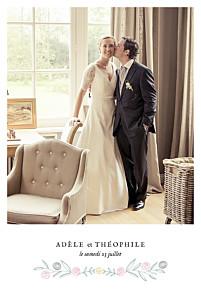 Carte de remerciement mariage Instant fleuri blanc