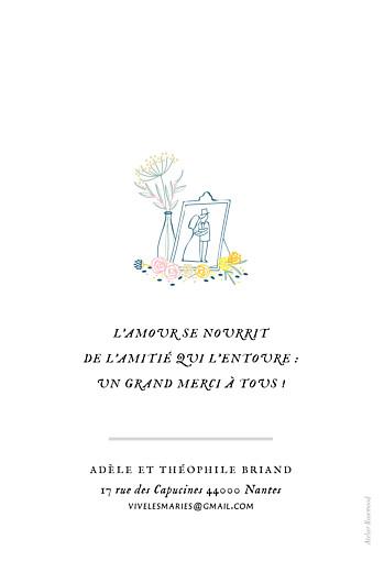 Carte de remerciement mariage Instant fleuri blanc - Page 2