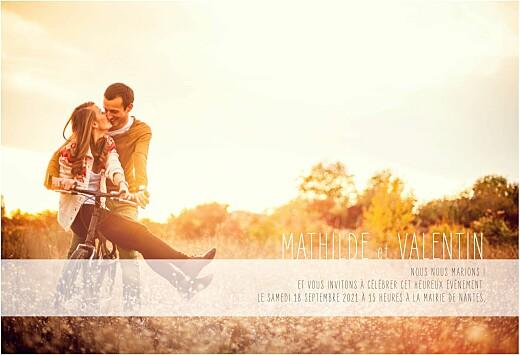 Faire-part de mariage Engagement photo (paysage) blanc