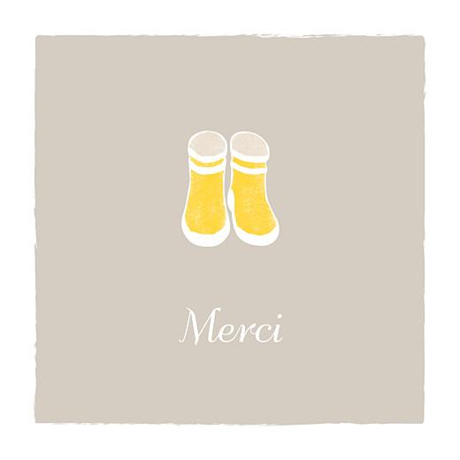 Carte de remerciement Merci balade (carré) beige jaune