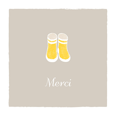 Carte de remerciement Merci balade (carré) beige jaune finition