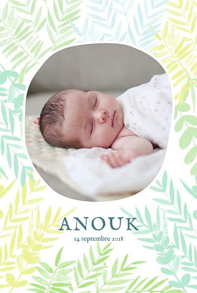 Faire-part de naissance Feuillage portrait photo vert finition