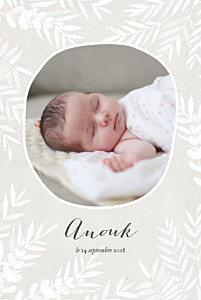 Faire-part de naissance gris feuillage portrait photo gris taupe
