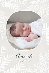 Faire-part de naissance Feuillage portrait photo gris taupe