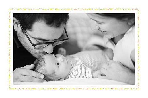 Faire-part de naissance Liberty tradition 2 photos jaune & corail