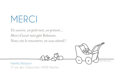 Carte de remerciement Merci little room photo blanc finition