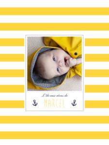 Affichette Matelot photo jaune & bleu