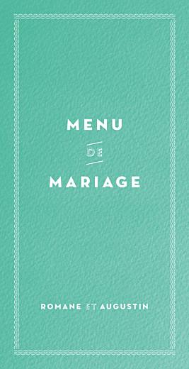 Menu de mariage La déclaration vert texturé