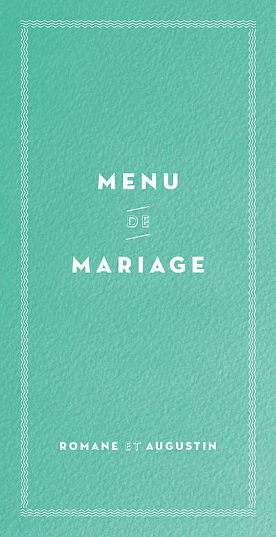 Menu de mariage La déclaration vert texturé finition