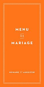 Menu de mariage La déclaration orange