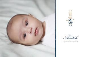 Faire-part de naissance Mon petit lapin 2 photos bleu nuit