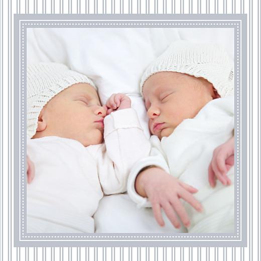Faire-part de naissance Petites rayures jumeaux gris - Page 3