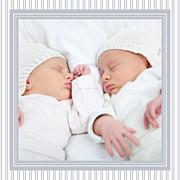 Faire-part de naissance Petites rayures jumeaux gris page 3
