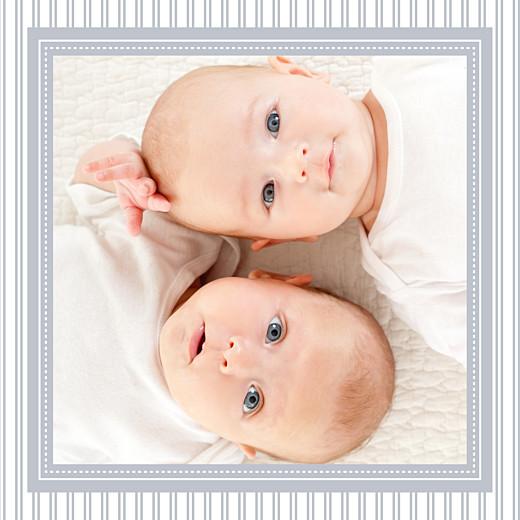 Faire-part de naissance Petites rayures jumeaux gris
