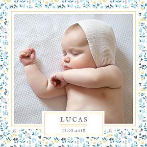 Faire-part de naissance tomoë  liberty coeur bleu