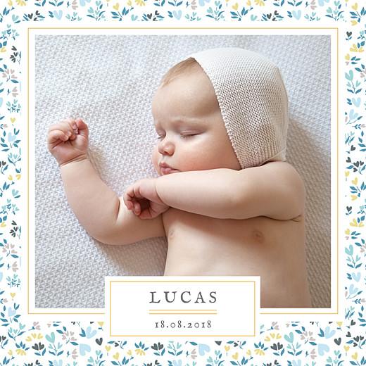 Faire-part de naissance Liberty coeur bleu