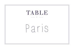 Marque-table mariage L'essentiel kraft & bleu-violet