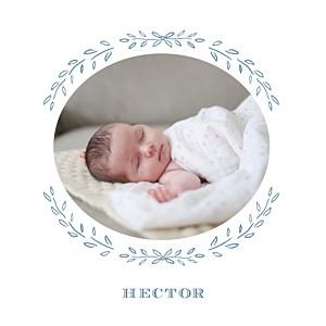 Faire-part de naissance vintage poème photo bleu gris